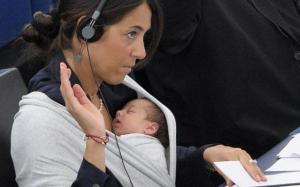 Politician Licia Ronzulli at work in 2010, with 7-week-old Vittoria