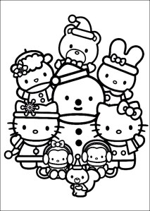 happy-family-of-hello-kitty-celebrating-christmas-coloring-pages